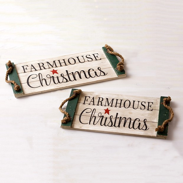 Rope Handled Farmhouse Christmas Trays, Set of 2