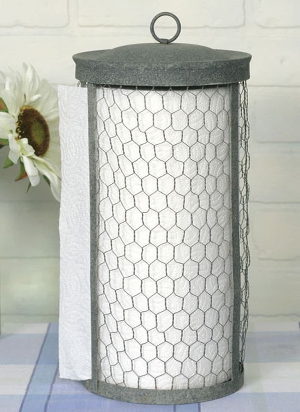 Farmhouse Style Chicken Wire Paper Towel Holder