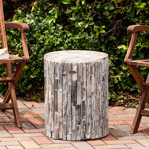 Reclaimed Wood Rustic All Natural Round Garden Stool