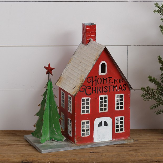 Tin House With Tree Decor