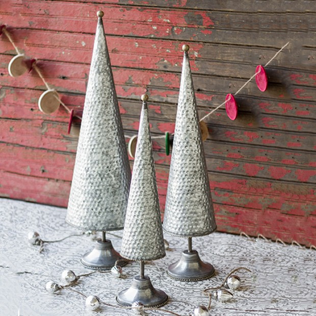 Tabletop Zinc Topiary Trees, Set of 3
