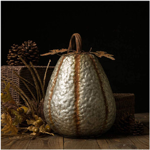 Galvanized Distressed Pumpkin Tabletop Indoor Fall and Harvest Decor