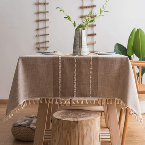 Linen Cotton Farmhouse Tablecloth with Tassels, Washable