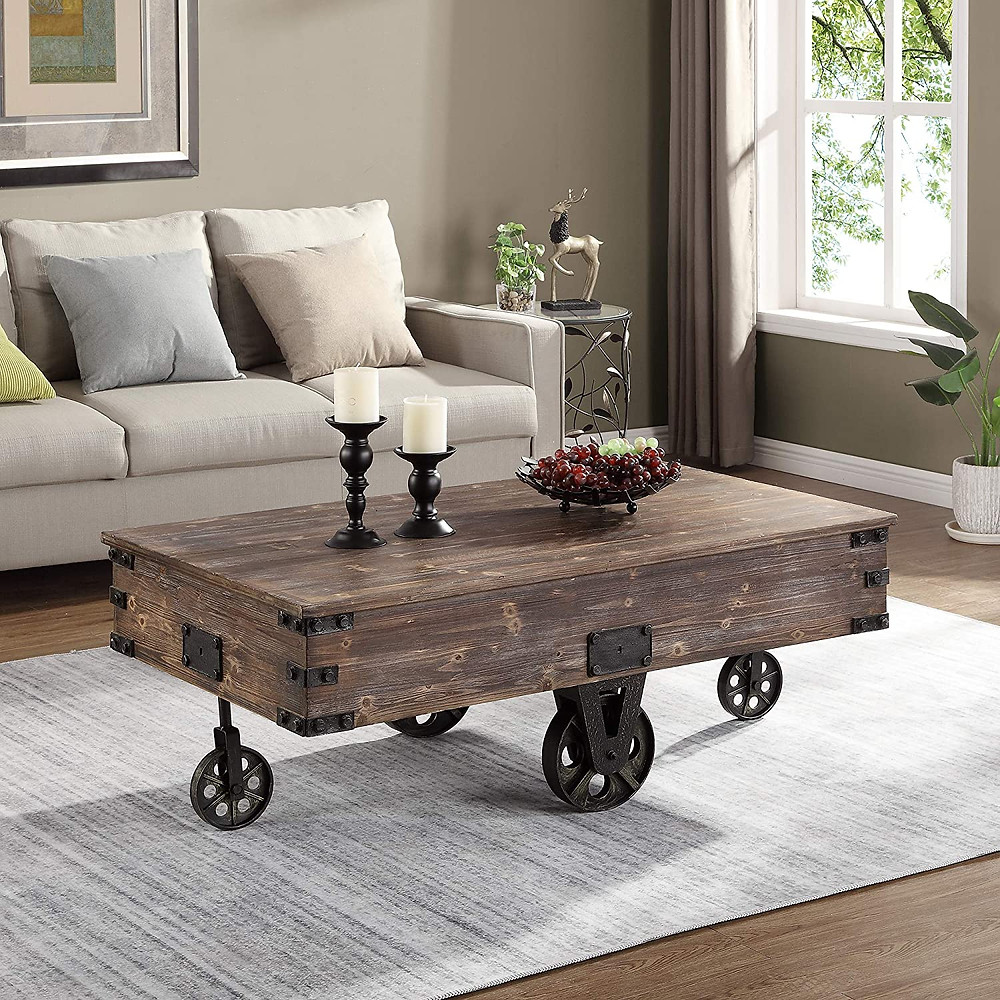 wood coffee table with vintage wheels