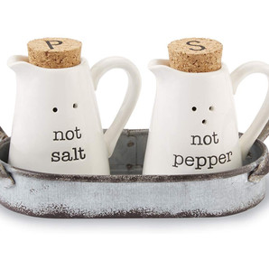 Farmhouse Themed Ceramic Salt and Pepper Caddy Set in Aluminum Basin