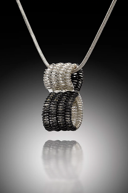 Infinity Pendant, Silver & Black