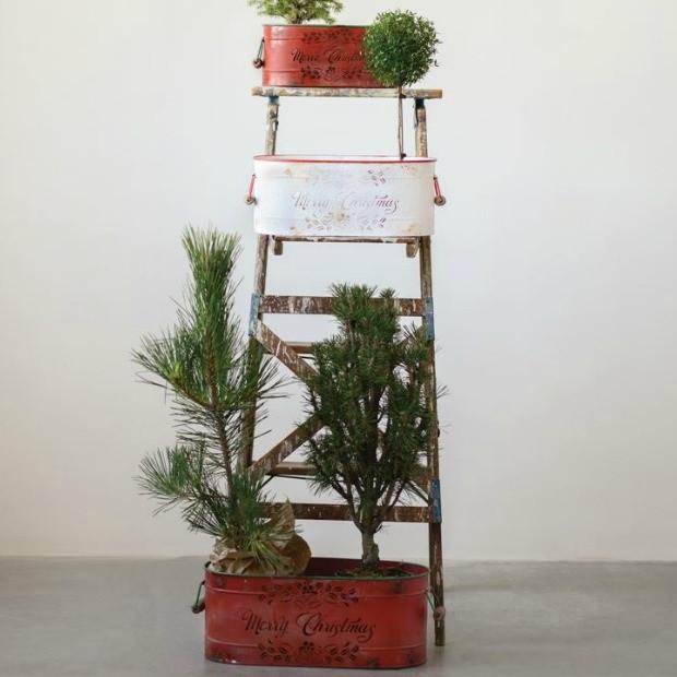 rustic farmhouse christmas planters