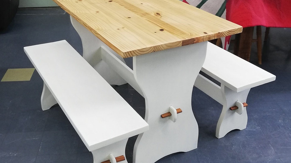 Kitchen Table and Bench set (unique item - upcycled by Swindon Night Shelter)