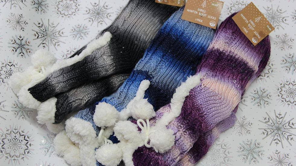Ladies Winter Boot Socks - Stripe