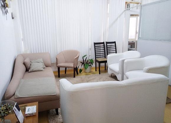 Sala para psicólogos e outros terapeutas. Com divã e poltronas