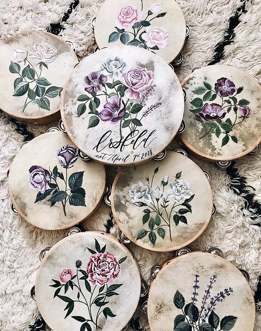Hand Painted Vegan Floral Tambourines