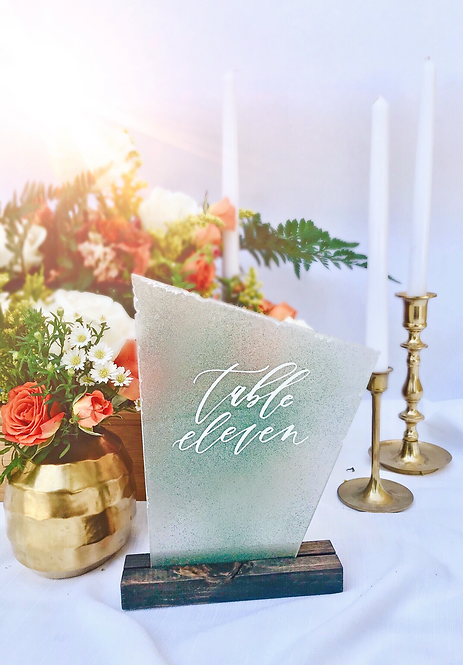 Faux Sea Glass Table Numbers with Stands