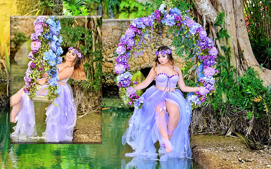 arch of flowers at quinceanera photoshoot
