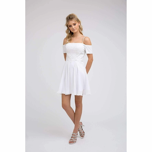 Embroidery Off Shoulder with Straps White Dress 814W