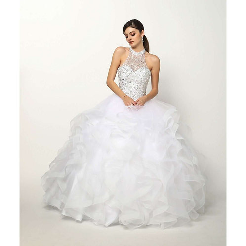 Crystal Beading on a Flounced Tulle Ballgown 1420W