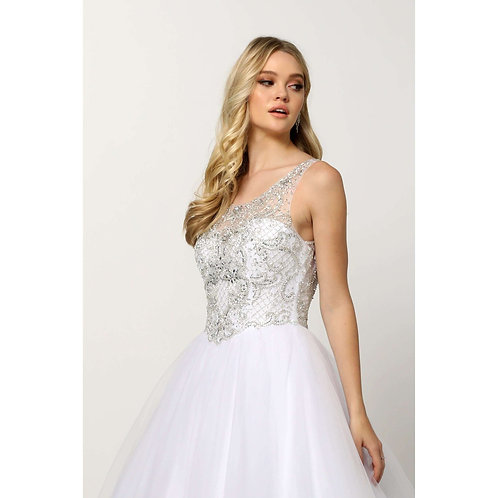 Beaded High Neck Bodice with keyhole back on Tulle Ballgown 1417W