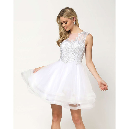 Metallic Embroidered Applique White Dress 830W