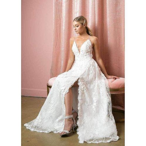 3D Flower Applique Side Slit Wedding Gown 216W