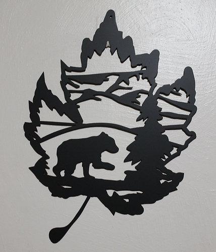 Bear Cub Metal Art Wall Hanging Sign