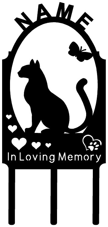 Kitty Cat Pet Memorial Marker PERSONALIZED Many BREEDS Available