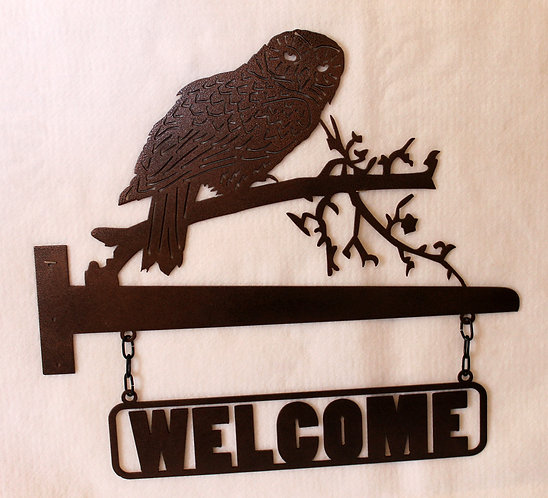 Welcome Sign Owl on a Branch for Horizontal Post