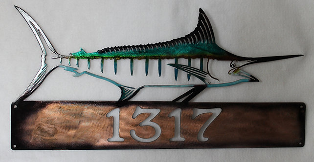 Metal Art Hand Painted Marlin Fish Address Sign