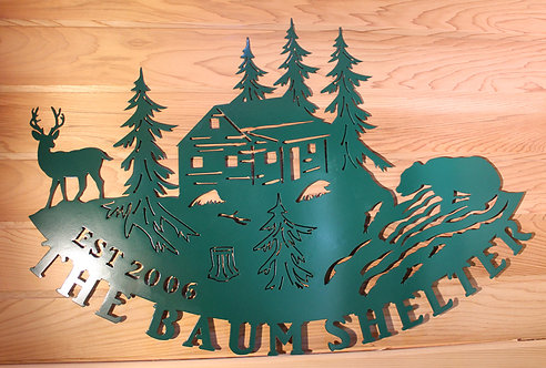 Personalized Rustic Cabin or Lodge Metal Sign