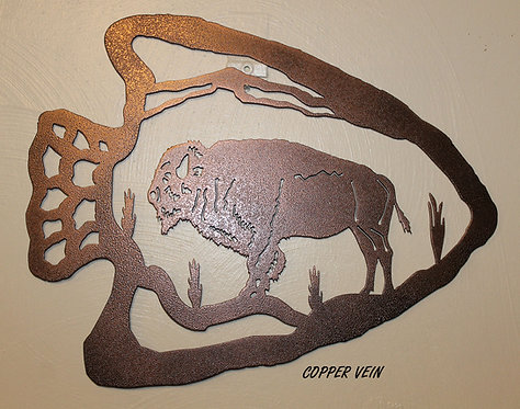 Buffalo Arrowhead Metal Wall Art Sign