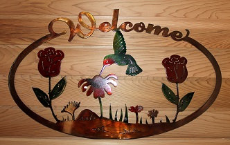Flowers and Hummingbird Oval Welcome Sign