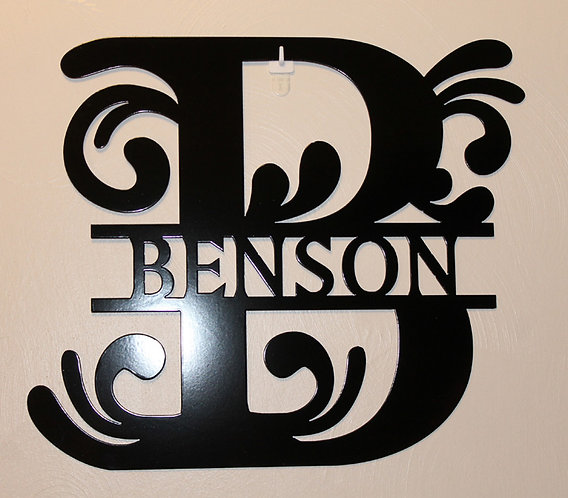 Split Letter Monogram Door Sign or Wall Plaque Personalized Metal Art