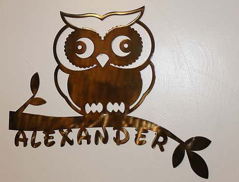 OWL On Branch Metal Art personalized