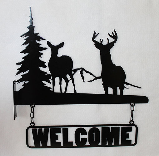 Welcome Sign with Deer, Mountains and a Tree for a Horizontal Post