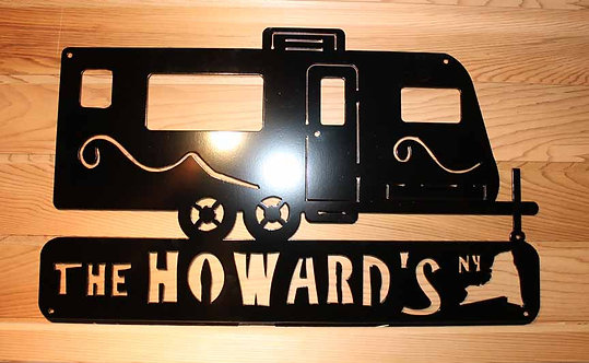 Personalized Camper Camping Travel Trailer Metal Art Sign