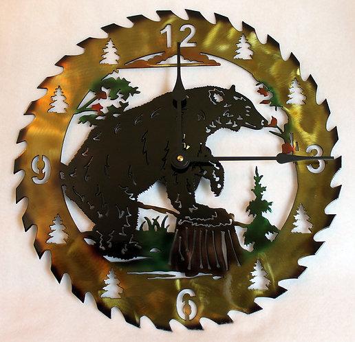 Metal Art Hand Painted Clock, Bear Smelling The Flowers Circular Saw Blade