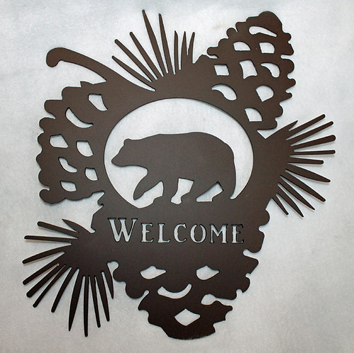 Welcome Bear and Pine Cones Wildlife Sign