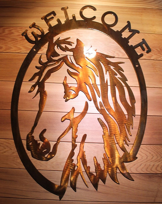 Horse Metal Welcome Sign