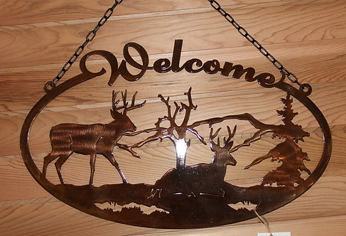 Deer Welcome Sign Oval