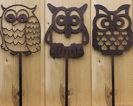 Set of 3 OWL Yard Garden Stakes