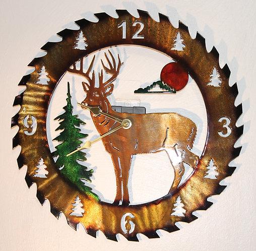 Deer Clock Circular Saw Blade Metal Art