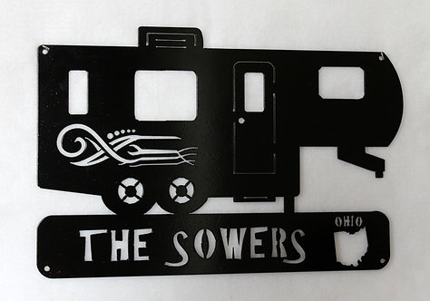 Personalized 5TH Wheel Camper Metal Art Sign
