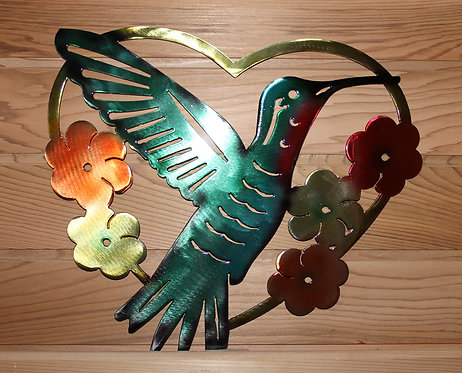 Hummingbird and Flowers in a Heart Shaped Frame Hand Painted