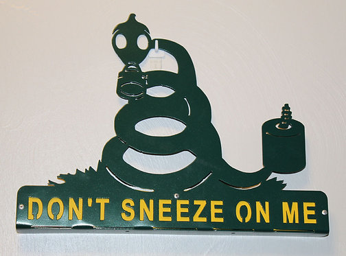 Mailbox Topper Don't Sneeze On Me Sign Layered Metal Readable on Both Sides