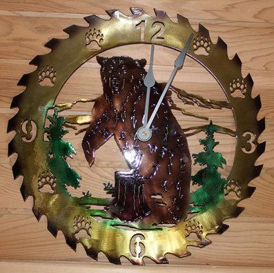 Circular Saw Blade Bear Scene Clock Hand Painted