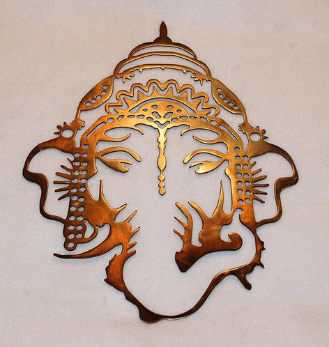 Ganesha Elephant Deity Metal Art Yoga Wall Plaque