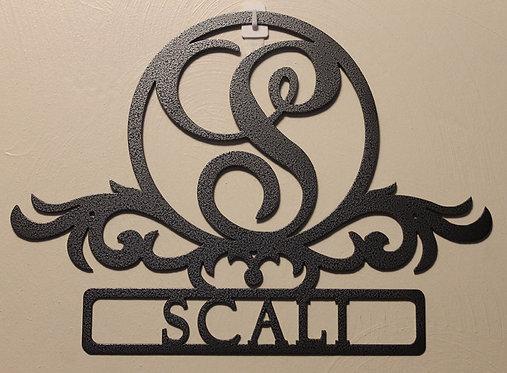 Monogram Style 2 Door Sign or Plaque Personalized Metal Art