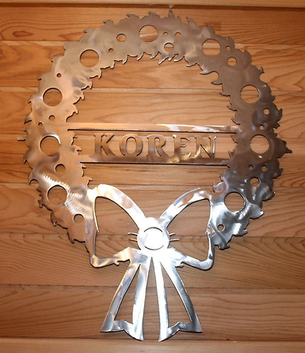 Christmas Wreath Personalized Metal Art Wall Sign