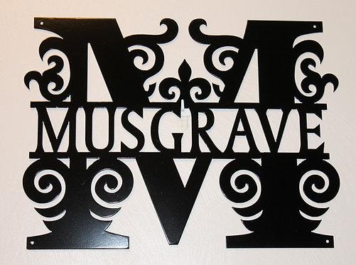 Split Letter Monogram Style 2 Door Sign or Wall Plaque Personalized Metal Art