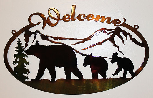 Bear and Cubs Oval Welcome Sign
