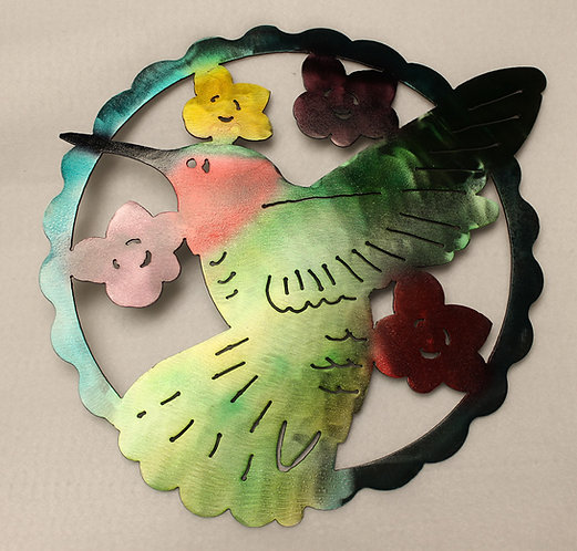 Hummingbird and Flowers Hand Painted 12 Inch Scalloped Circle