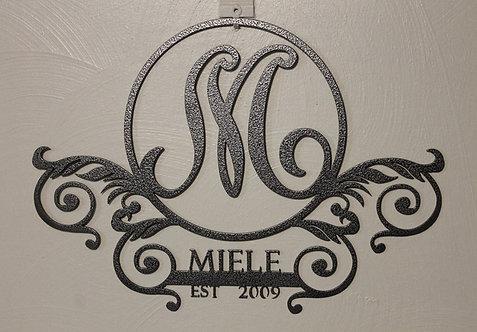 Monogram Door Sign or Plaque Personalized Metal Art